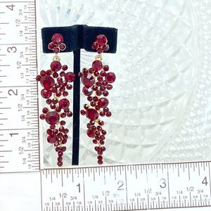 Prom Pageant Bridal Jewelry - Red Crystal Cluster Chandelier Prom Formal Earring